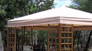 Replacement Canopy Covers sams club wood hexagon gazebo replacement canopy youtube