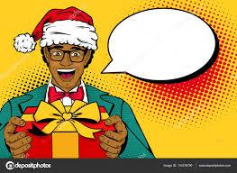 wow christmas pop art man african man in santa claus hat suit