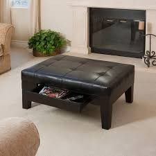 living room ottoman black coffee table leather with pull out tray