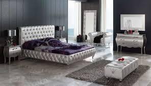 Bedroom King Size Furniture Sets Silver Tufted Leatherette 9pc King Size Modern Bedroom Set