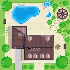 residential house plan with a beautiful garden top view stock