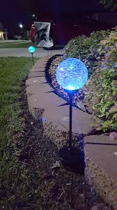 Gazing Ball Fountain Solar Garden Stake Lights 3 Pack Cracked Glass Led Outdoor