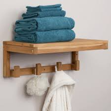 Bathroom Shelf With Hooks Teak Towel Shelf With Square Hangers Bathroom