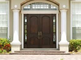 black stained wooden single half glass modern front doors with 5