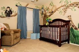 Rug For Baby Room Cream Wall Themes With Animal Paint And Blue Curtains Combined By
