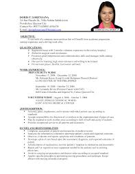 Sample Undergraduate Resume Curriculum Vitae How To Write