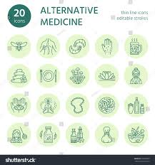 alternative medicine line icons naturopathy traditional stock