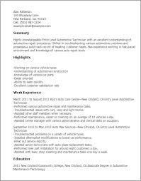 Maintenance Technician Resume Sample by Professional Entry Level Automotive Technician Templates To
