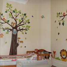 Nursery Room Theme Baby Nursery Toddler Kids Bedroom Decoration With Brown Wooden Bed