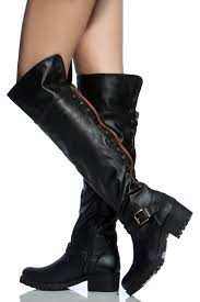 womens black leather biker boots black faux leather studded knee high biker boots cicihot boots