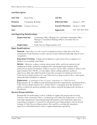 Customer Service Experience Resume Resume Examples For A Bank Teller Position Sample Resume For Bank