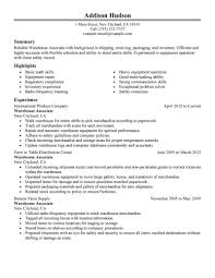 Example Job Resume by Warehouse Associate Resume Objective Examples Resume For Your