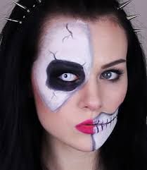 Halloween Makeup Application by Skeleton Half Skull Makeup Tutorial For Halloween Easy And