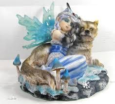 snow fairy with wolf gaurdian mythical fantasy home decor figurine