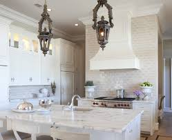 Cream Subway Tile Backsplash by Stunning Kitchen With Antique Lanterns Pendants Creamy White