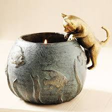 cat and fishbowl planter candleholder smithsonian museum store