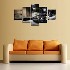 5 panels canvas print police man car painting on canvas canvas