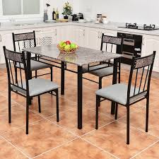 marbled top 5 piece dinning room set with 4 breakfast chairs