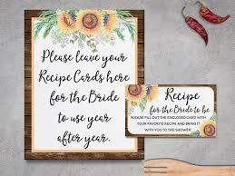 rustic recipe cards bridal shower sunflowers rustic bridal