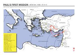 Exodus Route Map by A Map Showing The Apostle Paul U0027s First Missionary Journey Acts 13