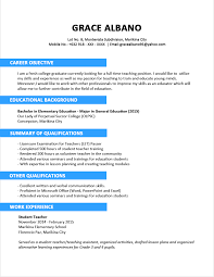 Writing A Summary For Resume Sample Resume Format For Fresh Graduates Two Page Format