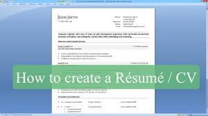 Sample Resume Format For Bcom Freshers by How To Write A Resume Cv With Microsoft Word Youtube