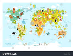 Map Of The South America by Vector Map World Cartoon Animals Kids Stock Vector 552624331