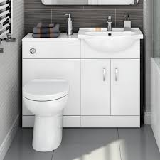 Bathroom Combined Vanity Units by 1048mm Quartz Gloss White Combined Suite With Toilet U0026 Basin