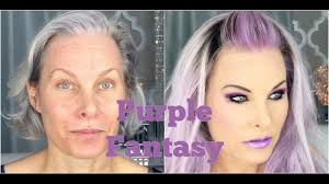 Hair Color To Look Younger Fantasy Purple Makeup And Hair On A Mature Face Youtube