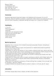 Examples Of Hvac Resumes by Professional Apartment Maintenance Supervisor Templates To