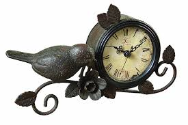 Unique Desk Clocks by Amazon Com Creative Co Op Shabby Cottage Chic Metal Bird Desk