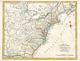 Map Of The New England Colonies by Early Map Of Colonial America Printed In England In 1795 Stock