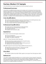 Sample Of Warehouse Worker Resume by Factory Worker Cv Sample Curriculum Vitae