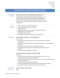 chronological resume format maintenance technician resume samples templates and tips online maintenance technician resume