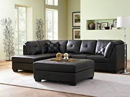 amazon com contemporary black leather sectional sofa left side