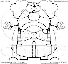 cartoon clipart of a black and white angry chubby circus clown