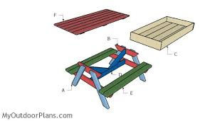 Plans To Build A Picnic Table Bench by Sandbox Picnic Table Plans Myoutdoorplans Free Woodworking
