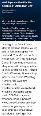 Memes  Relationships  and Wrestling  WWE Superstar Fined For Her Actions on  quot Smackdown Sizzle