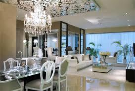 dining room luxury black chandelier on the white platformed