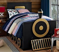this train bed from pottery barn kids is what toddler dreams are