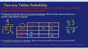Two Way Tables Worksheet Two Way Tables Probability Youtube