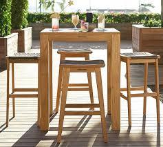 Outdoor Furniture Teak Sale by Madera Teak Square Fixed Bar Height Table U0026 Palmer Barstool Set