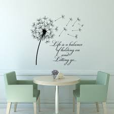 flower decals etsy dandelion wall decal quote life balance holding letting inspirational