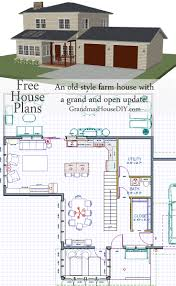 Open Floor Plan Farmhouse Free House Plan An Old Style Farm House With A Grand And Open