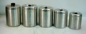 vintage aluminum canister set flour sugar coffee tea grease home