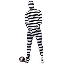 Halloween Costume Robber Convict Robber Skinz Skin Tight Body Suit Sock Fancy Dress