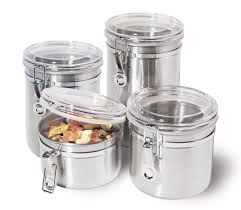 Green Canister Sets Kitchen Amazon Com Oggi 4 Piece Stainless Steel Canister Set With Acrylic