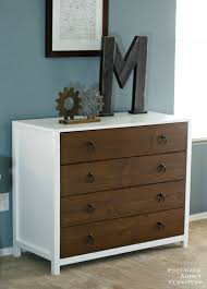 Bedroom Set Plans Woodworking Ana White Modern White Dresser With Wood Drawers Diy Projects