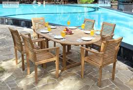 Discount Teak Furniture Light Coloured Teak 6 Seat Furniture Set Oval Outdoor Table