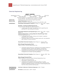 Sample Undergraduate Resume Chemical Engineer Phd Resume